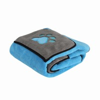 Hot 70*100cm Cat Dog Bath Towel With Pockets Absorbent Pet Cleaning Towels Animal Blanket @LS JY16