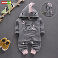2017 new spring autumn baby boys girls cartoon clothing sets toddler dinosaurs designer long sleeve hooded tops + pants suits