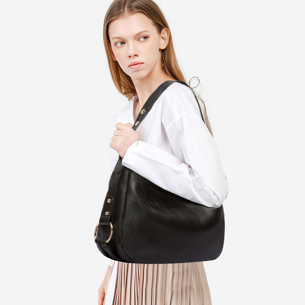 Autumn Luxury Women Hobo Shoulder Bag Genuine Leather Designer Handbag Black Crossbody Messenger Purse Quality Satchel