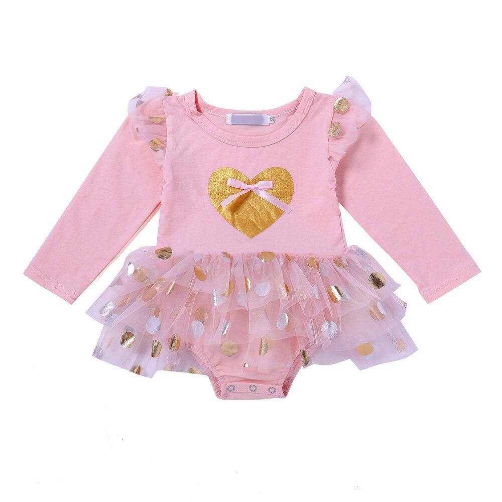 2018 Pink Infant Bodysuit With Dress Long Sleeve Baby Girl Bodysuits Polka Dot Tutu Sunsuits For Infant Girls Newborn Onesie