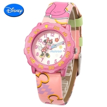 100% marca niños niñas de dibujos animados animación disney minnie cuero impermeable reloj de pulsera de cuarzo niños relojes exquisitos