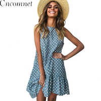 Women Summer Dress Fashion Polka Dot Dress Sleeveless Beach Mini Dress Casual Printed Short Loose Blue Sundress New Arrival