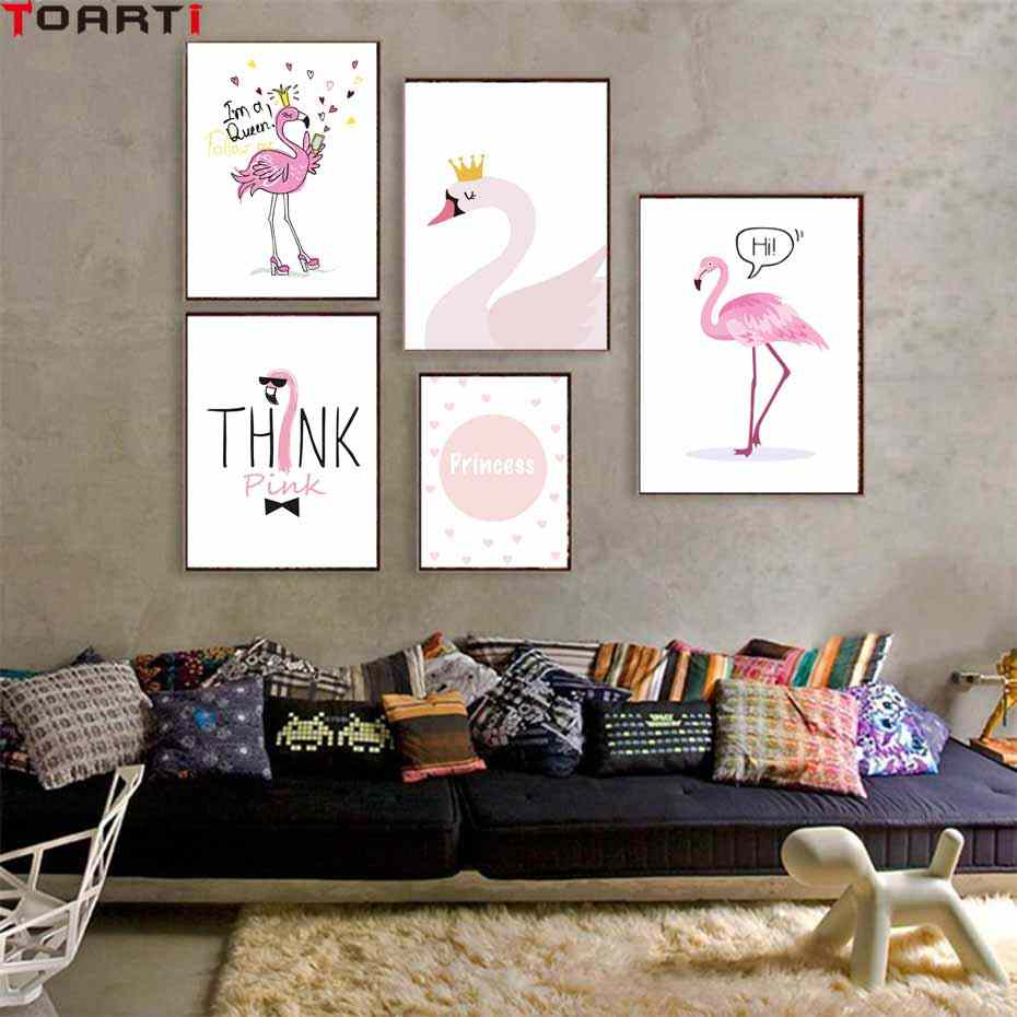 Pink Flamigo Quotes Cartoon Poster&Print Kids Room Modern Canvas Painting Picture Home Decora Art Murals Wall Chart Cute Animals