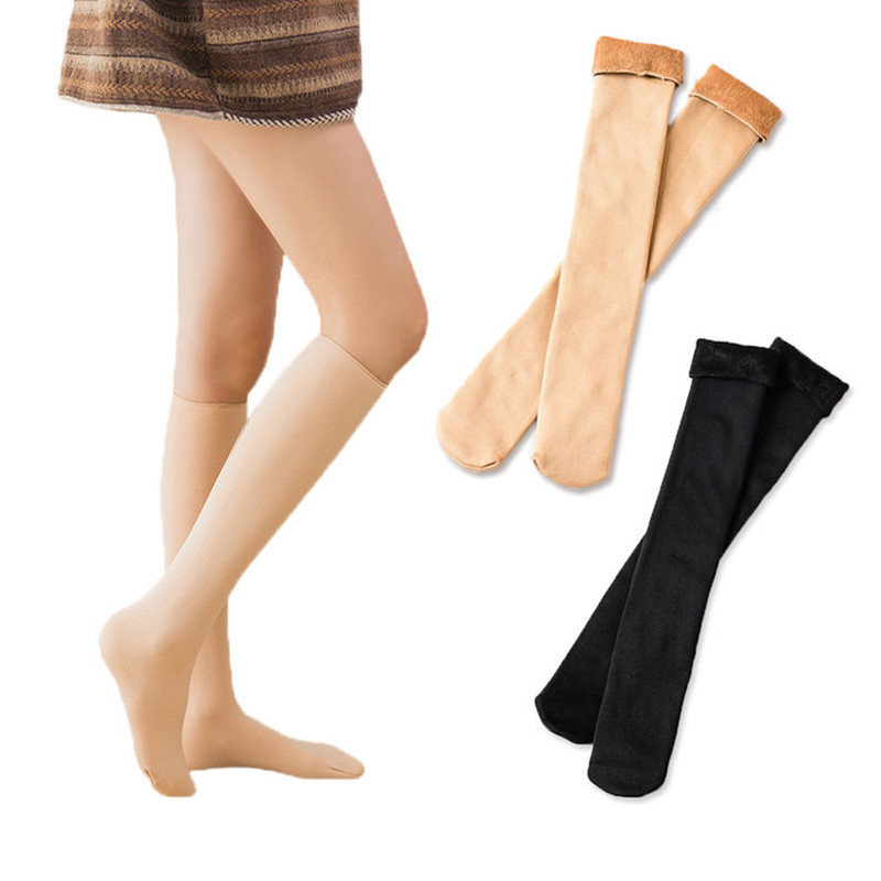 Hot Warm Winter Thick Women Thermal Cashmere Snow Stockings Unisex Seamless Velvet Boots Floor Female Below Knee Long Stockings