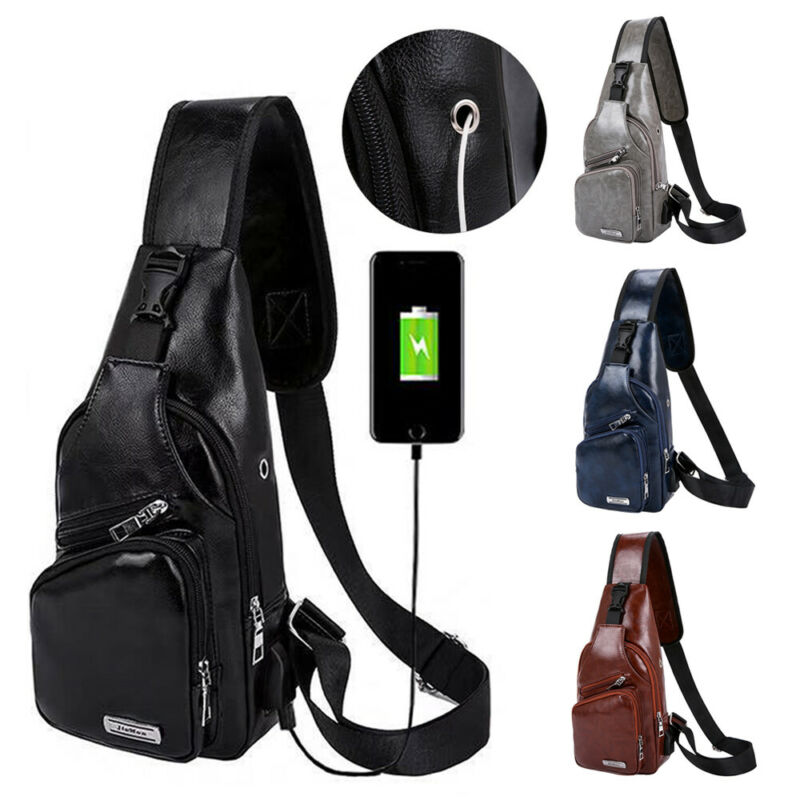 2019 Fashion Men Shoulder Chest Bag PU Leather Zipper USB Charging For Mobile Phone Male Solid Belt Bags Waist Packs For Men