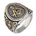 Mason Signet Ring gold Plated Freemason Masonic Rings for men,Stainless Steel Freemason's Jewelry for Free Masonry Member.