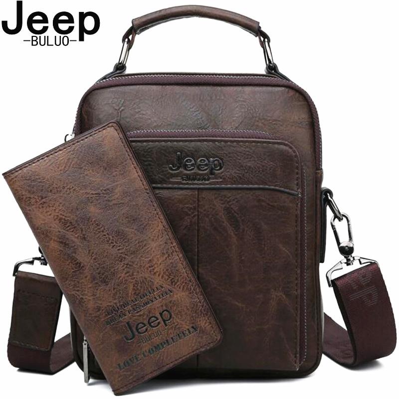 JEEP BULUO Brand 2019 NEW Male Crossbody Shoulder Messenger Bags Men Handbag High Quality Split Leather Man Bag Fashion Bags