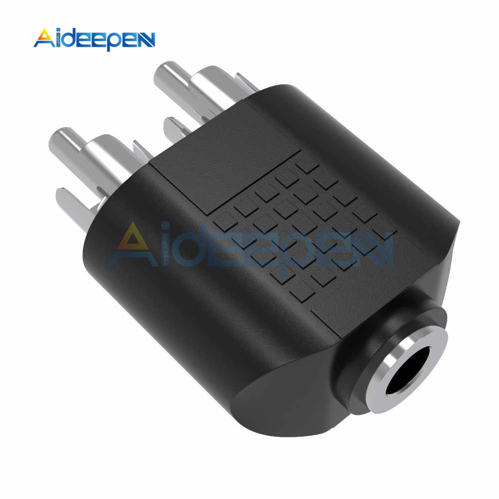 3.5mm Female to 2 RCA MALE Stereo Audio Adapter Connector Convertor Sound Voice Jack Socket Plug Silver