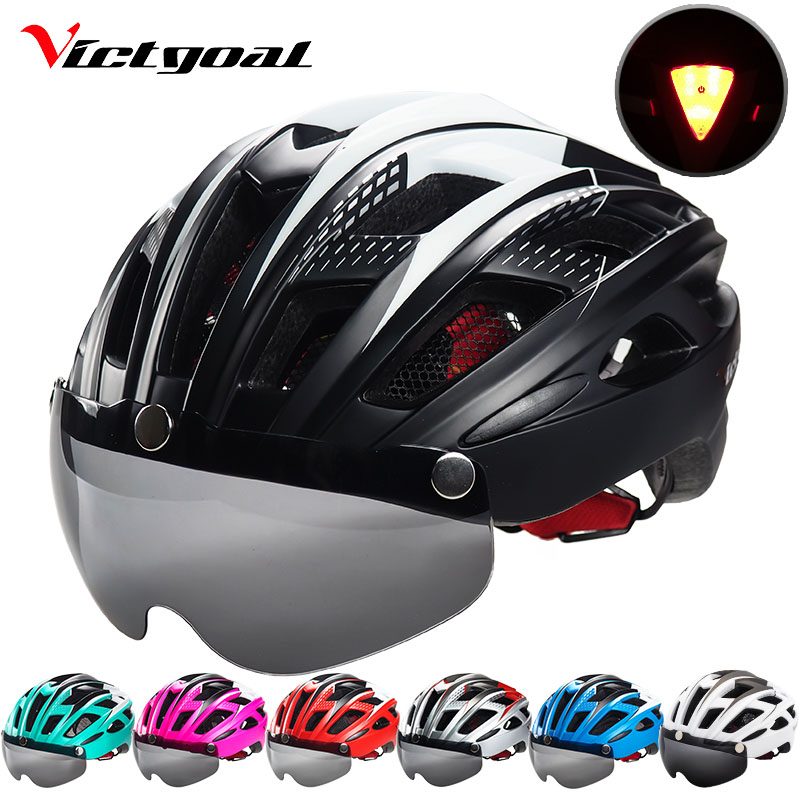 VICTGOAL Mountain Road Bike Helmet Light MTB Bicycle Helmet For Men Women Integrally Molded Windproof Cycling Helmet With Goggle