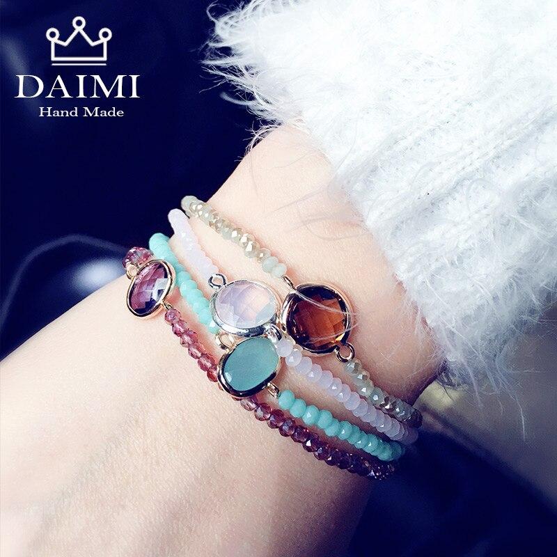 DAIMI 4PS/Set Shiny Crystal Gem Multilayer Elastic Bracelets Rainbow Color Charm Sway Christmas Gift For Women