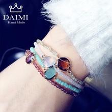 цена DAIMI 4PS/Set Shiny Crystal Gem Multilayer Elastic Bracelets Rainbow Color Charm Bracelets Sway Crystal Christmas Gift For Women онлайн в 2017 году