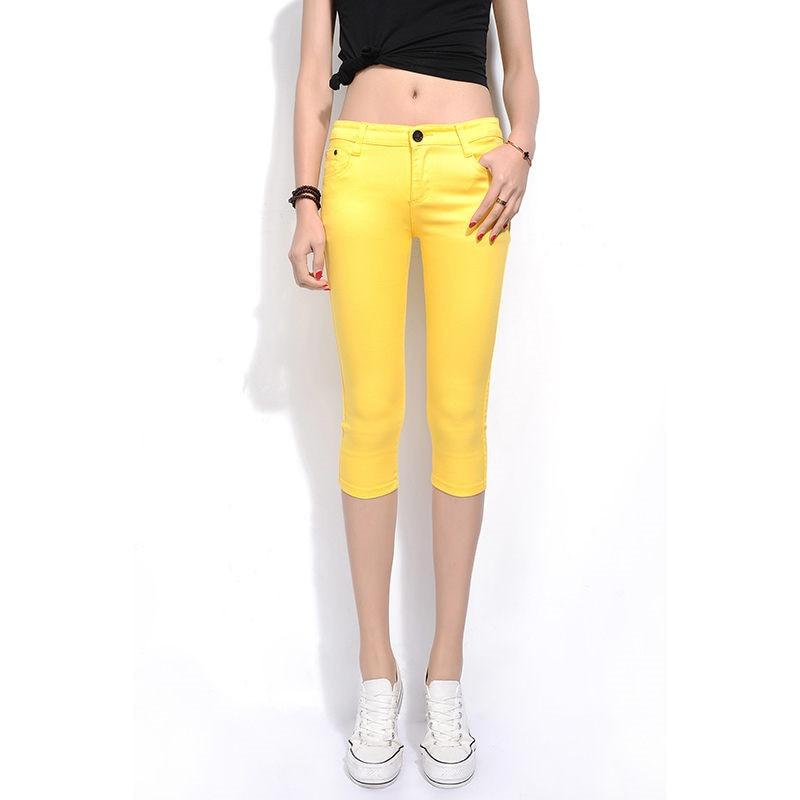 2019 Skinny Women's Capris Jeans Pants Female Knee Length Stretch Slim Capri Jeans Women Candy Color Summer Denim Jeans Shorts