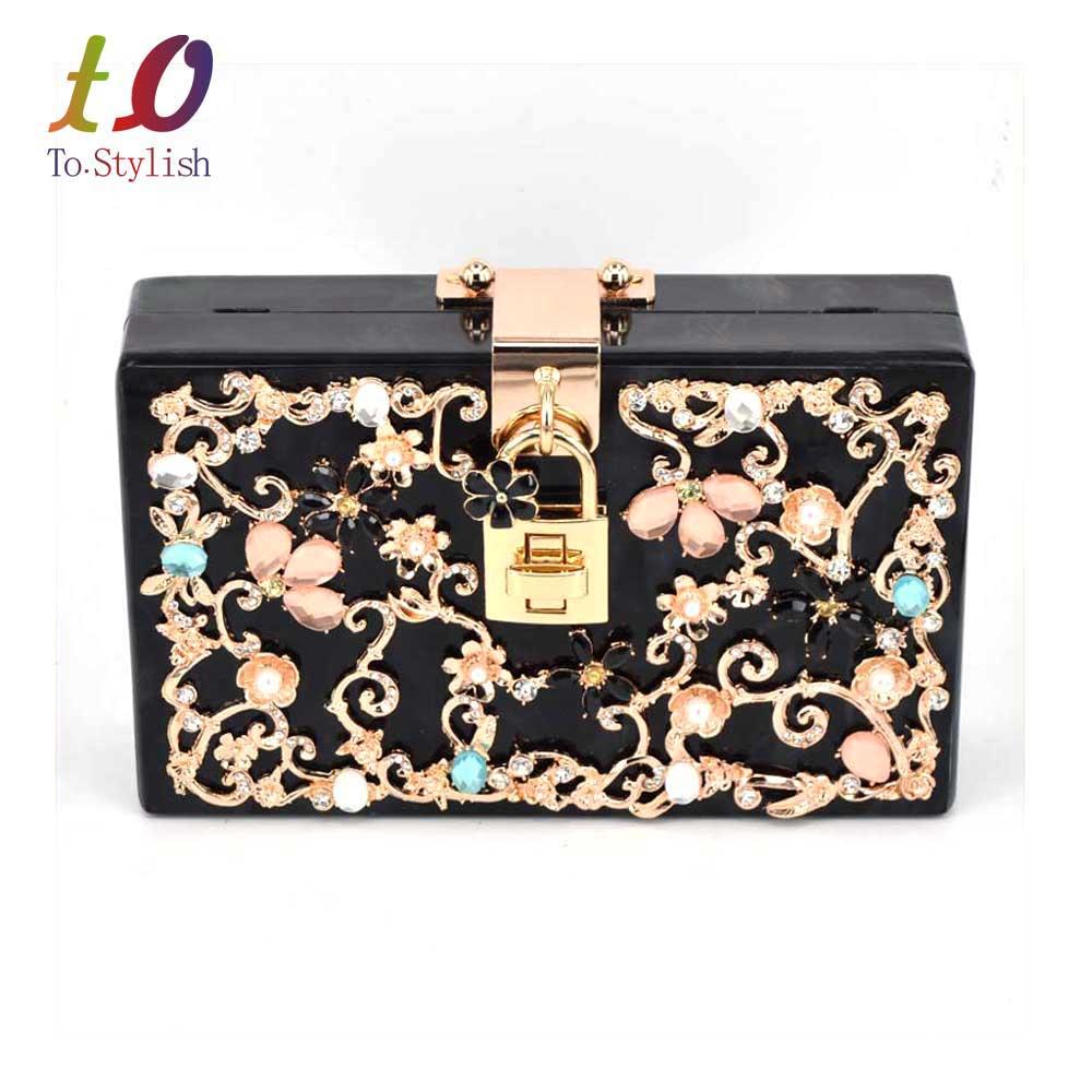 ФОТО Red Trunk Clutch Bag Fashion brand diamond relief Acrylic Ballot lock luxury handbag evening bag Clutch party purse Shoulder Bag