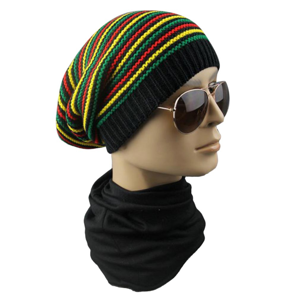 Winter Hip Hop Bob Jamaican cap Rasta Reggae Hat Multi-colour Striped Beanie  Hats For Men Women new style Male Beanie Caps Gorro 190c6df6898