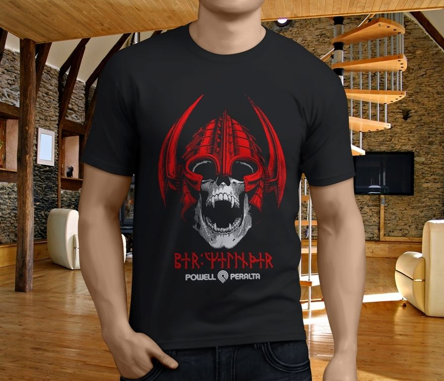 New Powell Peralta Red Per Welinder Viking Skull Black MenS T Shirt Size S 4Xl ...