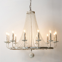 12 Head American Style Country Lustres Iron Crystal Pendant Lamp For Kitchen Dinning Room Home Decor