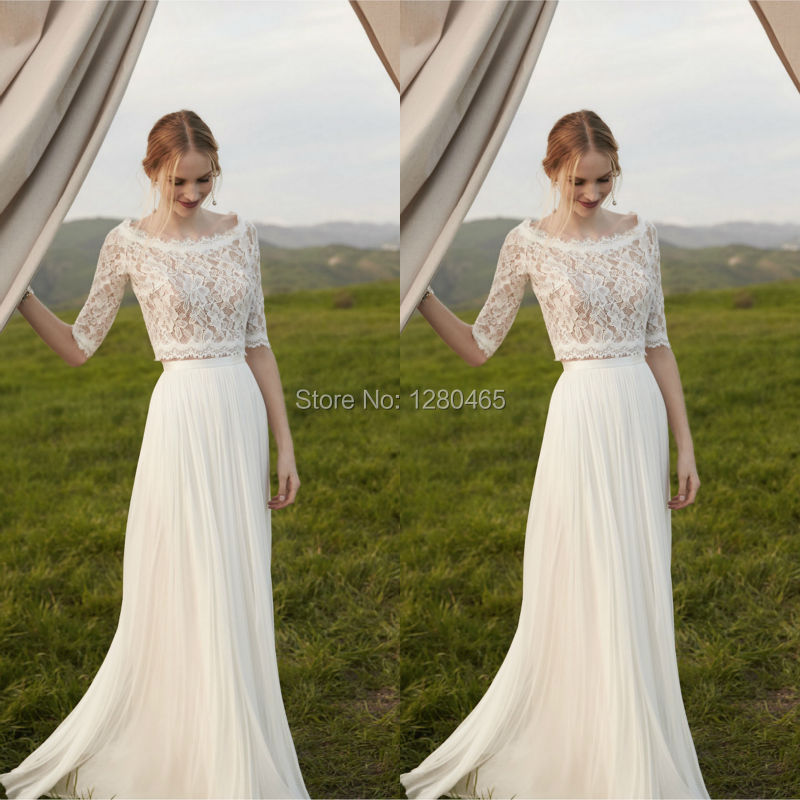 Ivory Lace And Chiffon 2 Piece Wedding Dresses Beach Boho Dress With Mid Sleeves Vestidos De Novia Con Mangas In From Weddings