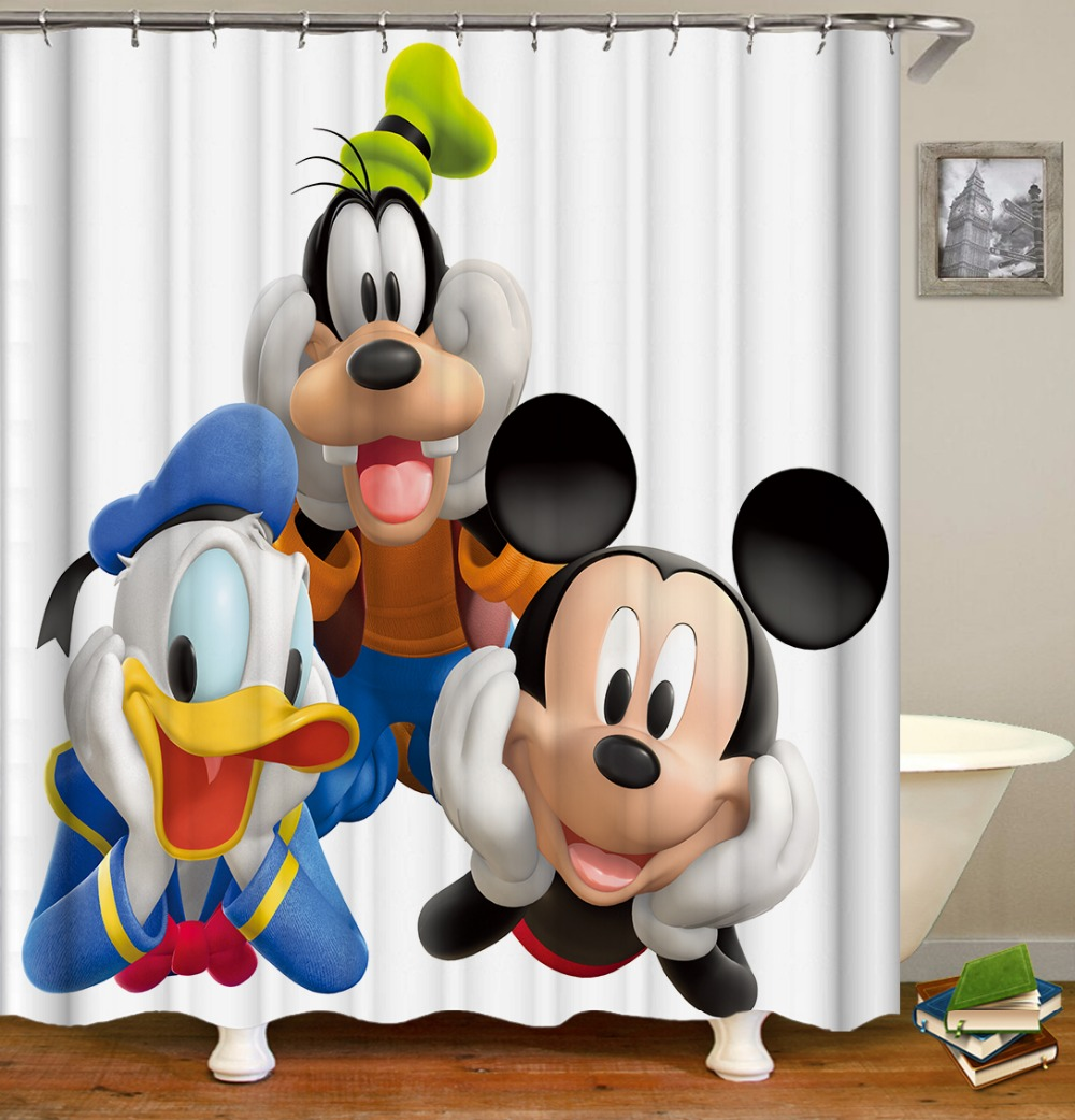 Mickey Mouse Donald Duck Cartoon Printing Bathroom Shower Curtains Waterproof Fabric Shower