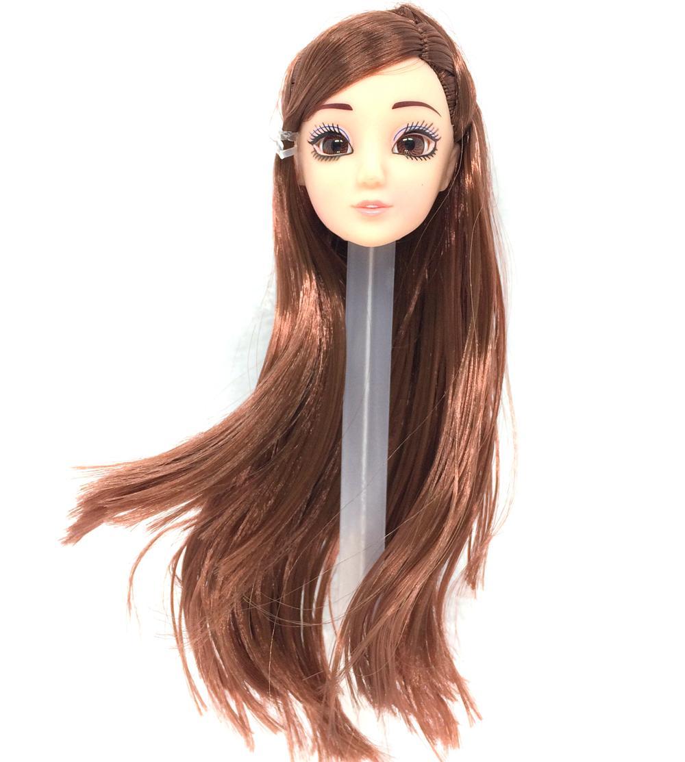 NK One Pcs Vogue Doll Head Brown Hair DIY Equipment For Barbie Kurhn Doll Greatest Woman' Reward Baby DIY Toys 024O
