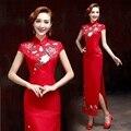 embroidery flower cheongsam dresses satin oriental dresses beautiful elegant high-slit red long plus size chinese dresses 2017