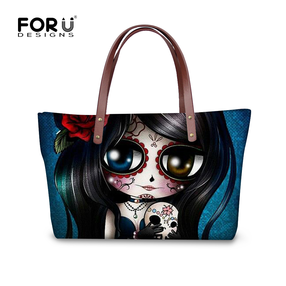 FORUDESIGNS 2017 Newest Women Skull Handbags Brand Tote Bags Womens Clutch Handbag Famous Cute Shoulder Bags Girls Beach Big Bag