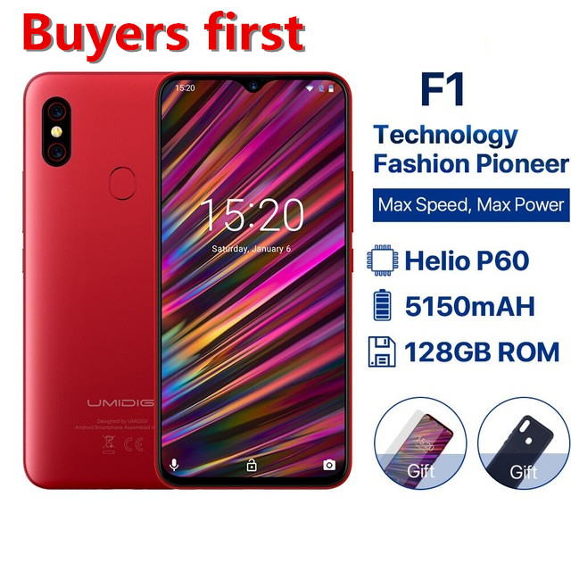 "2019 new Global Version UMIDIGI F1 Android 9.0 mobile phone 6.3""FHD 128GB+4GB 5150mAh Helio P60 Octa Core NFC 16MP Smartphone"