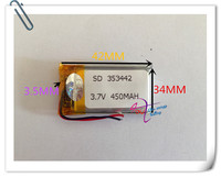 Wholesale 10 pcs 3.7V 450mAh 353442 Lithium Polymer LiPo Rechargeable Battery For Mp3 Mp4 PAD DVD DIY E book bluetooth