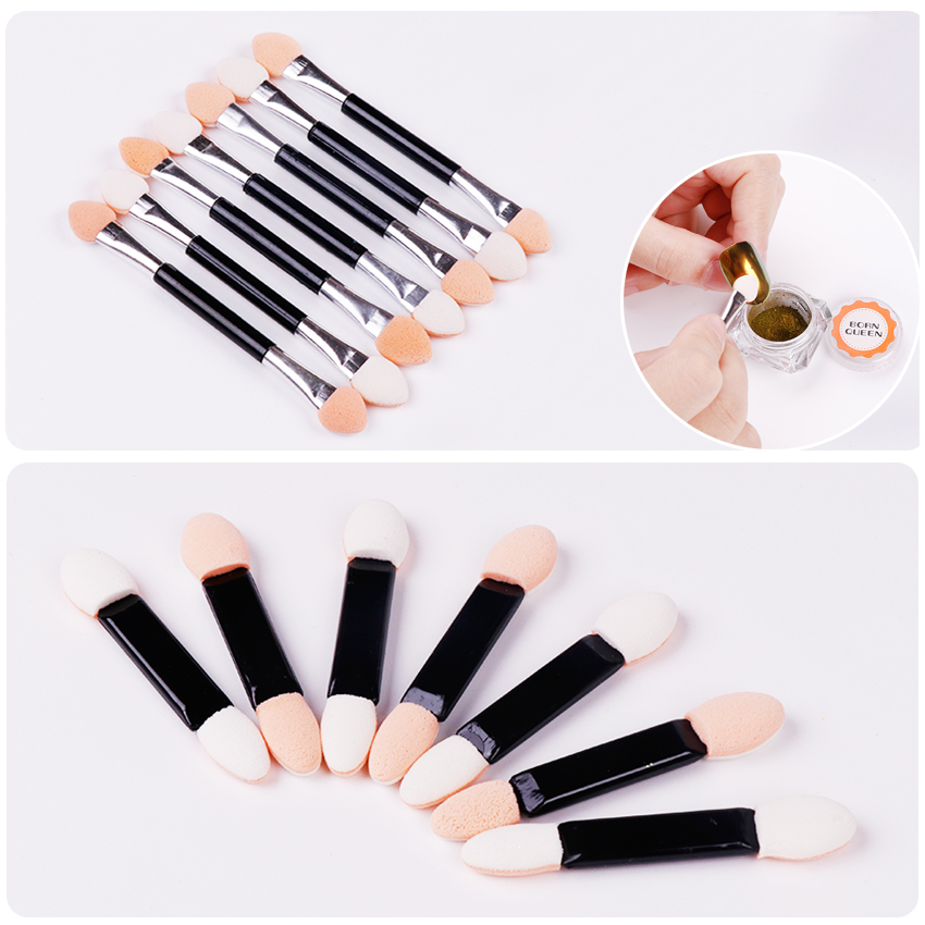 20Pcs Natural Latex Sponge Nail Powder Glitter Pigment Brush Stick Double-ended Eyeshadow Brush Makeup Manicure Nail Art Tool
