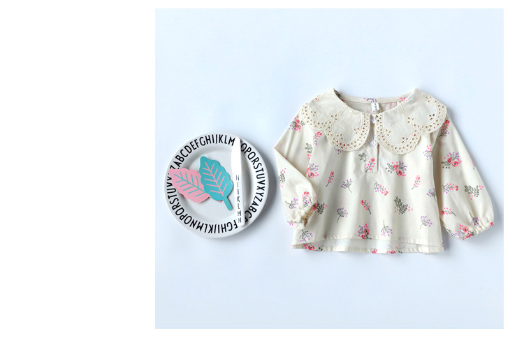 Spring Sweet Kids Blouse Cute Toddle Girls Print Tops With Big Lace Collar Girls Casual Blouse Wholesale Kids Clothes