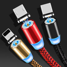 3A LED Magnetic Magnet USB Type C Cable for Samsung Galaxy S9 S8 A5 Fast Charging Data Cable for Huawei P20 Pro Xiaomi Mi8(China)