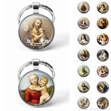 HOT Virgin Mary and Baby Jesus Christian Keychain Glass Jewelry Catholicism Key Chain Religion Easter Pendant Gift Dropshipping