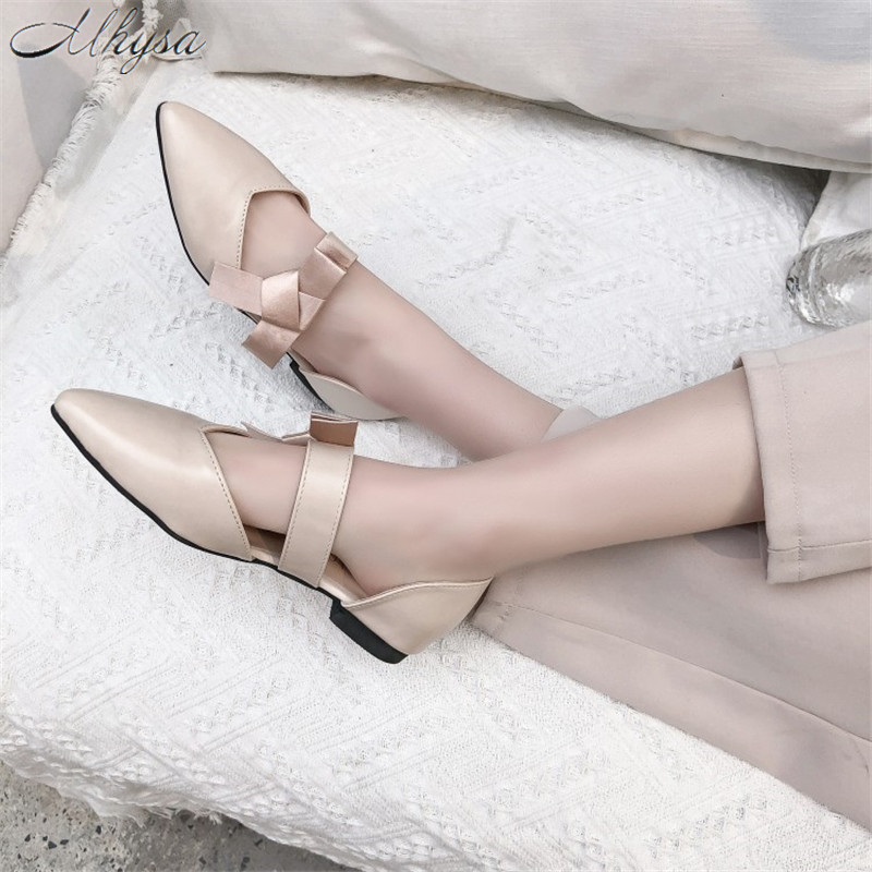 Freundlich Mhysa 2019 Frühling Wohnungen Frauen Bowtie Faulenzer Pu Leder Elegante Low Heels Slip Auf Schuhe Weiblichen Spitz Frauen Wohnungen T140 Schuhe Frauen Schuhe