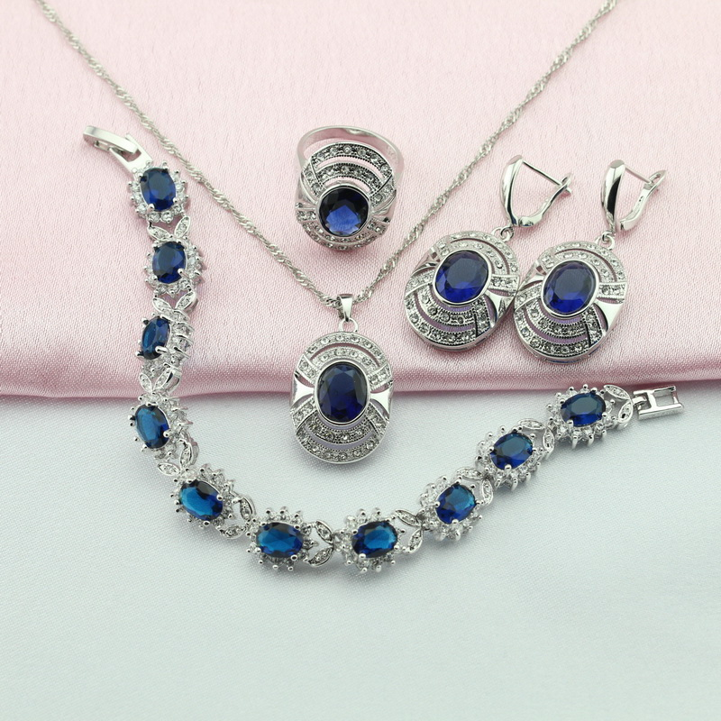Ashely Four Jewelry Sets For Women Blue Sapphire 925 Silver Earring Pendant Necklace Ring Bracelet Free