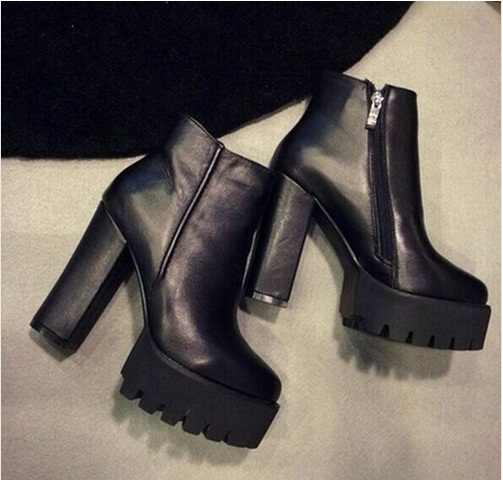 SLYXSH kadın Moda Yan Fermuar yarım çizmeler Platformu Kalın Yüksek Topuk 12 cm Bayan Botları Kış Kadın Ayakkabı Siyah çizme