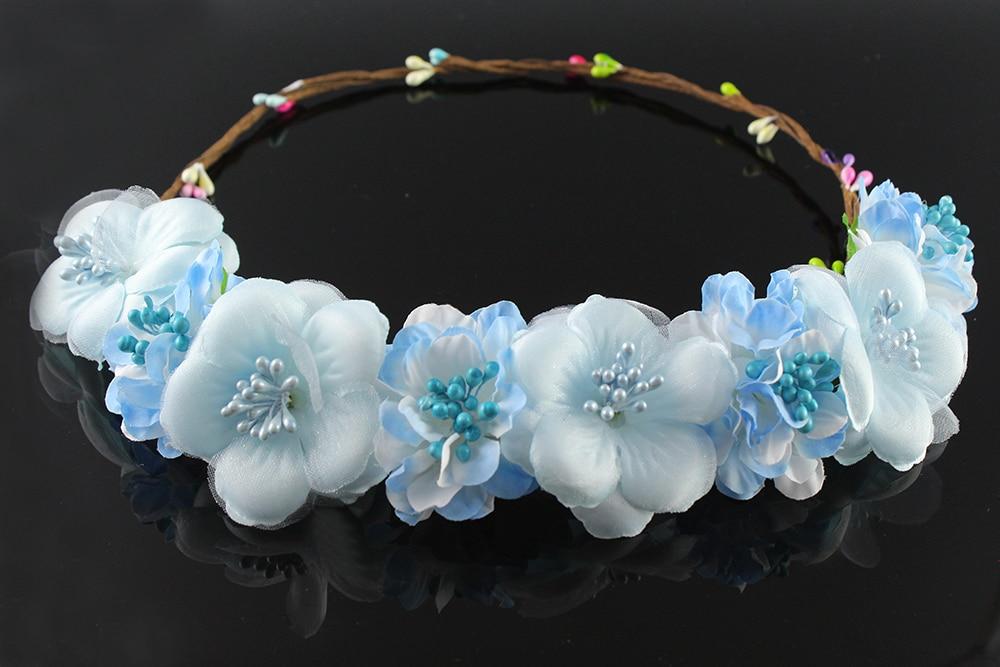 Light sapphire Delicate Bridal Flower Headpiece Wedding Hair Accessories Floral Crown Boho Halo Artificial Flower Crown Headband