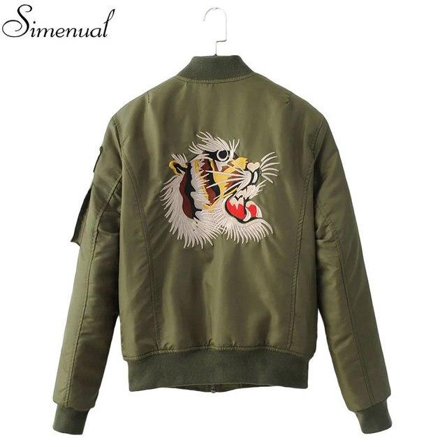 Тигры вышивка сувенир куртка sukajan army green тонкий длинным рукавом женщины основные пальто куртки мода новые зимнее пальто одежда