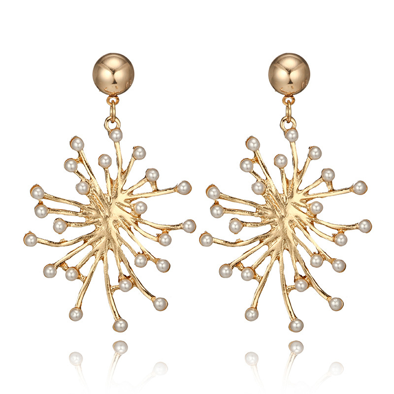 Gold Color Dangle Earrings For Women Statement Pearl Snowflake Snow Flower Piercing Earring Accessories Jewelry Brinco 6C1248