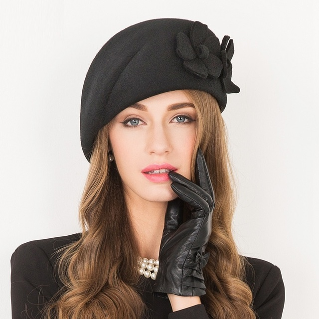 8d9d1d1250bc92 Women Winter Sweet Hat Female Elegant Leisure Fashionable Cap Lady Woolen  Fedoras Cap Wool Gift Cap