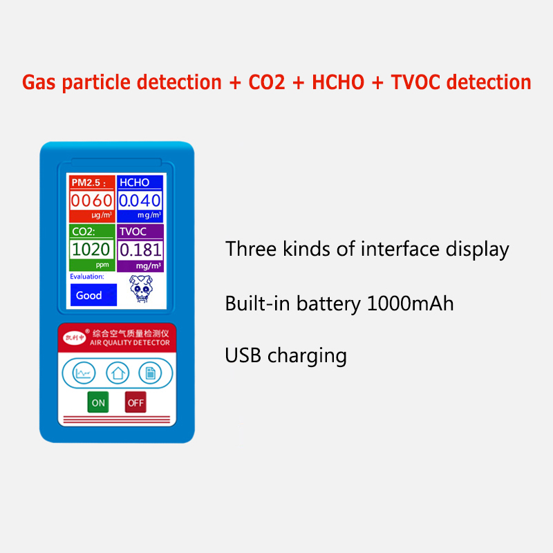 CO2 PM1.0 PM2.5 PM10 HCHO TVOC Gas Detector Carbon Dioxide Formaldehyde Gas Analyzer Particles Monitor Air Quality Analyzer 9999ppm carbon dioxide co2 monitor detector air temperature humidity logger