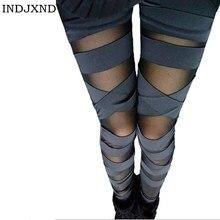 Лоскутная повязка, штаны, очаровательные легинсы, тонкие женские Легинсы в стиле панк, Женские легинсы, модные, сексуальные, комбинированные Стрейчевые черные брюки W007