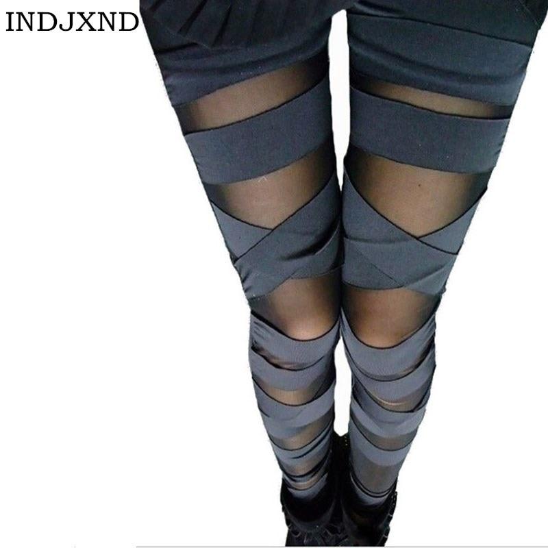 Patchwork Bandage Pants Charming Leggins slim Women Punk legins Lady   Leggings   Fashion Sexy Splicing Stretch Black Trousers W007