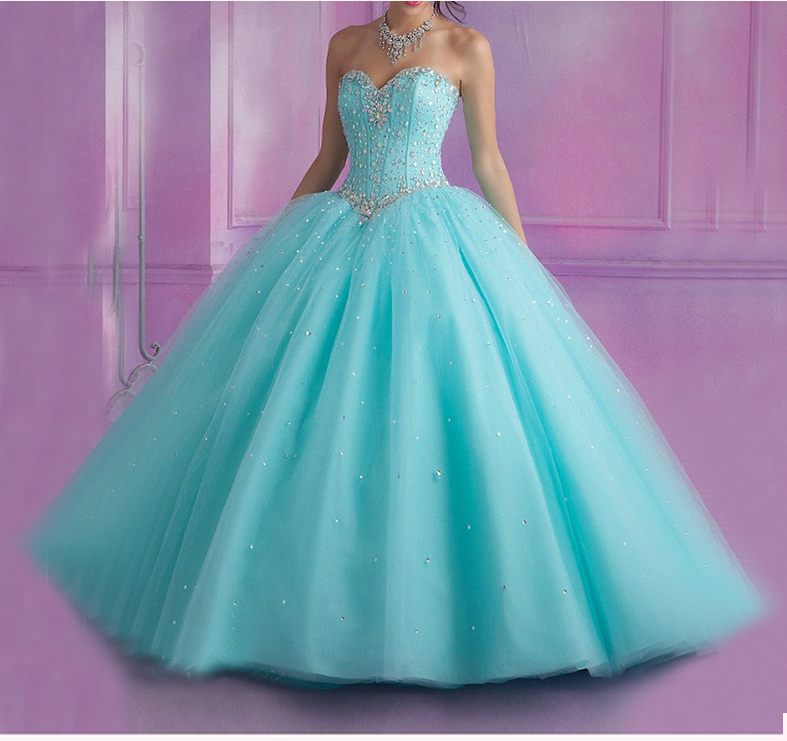 2019 Light Blue Quinceanera Dresses Ball Gown Sweet 16 Dress Beaded Crystals Vestidos De 15 Anos Debutante Gown