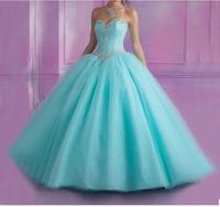 2019 Light Blue Quinceanera Dresses Ball Gown Sweet 16 Dress Beaded Crystals Vestidos De 15 Anos Debutante Gown