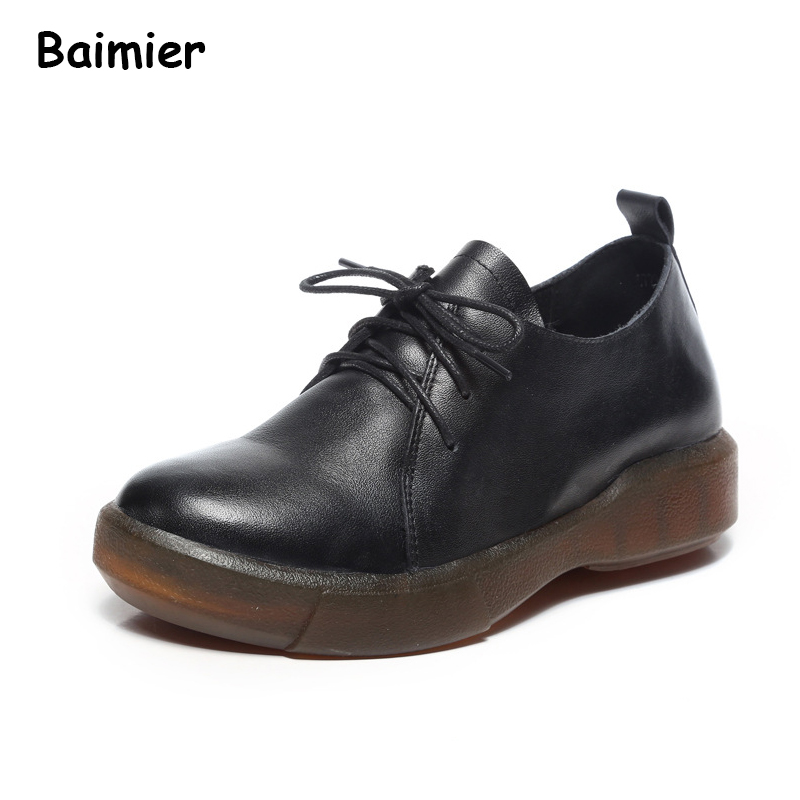 High Quality Women Genuine Leather Shoes Spring Summer Retro Oxford Shoes Woman Female Soft Comfortable Work Casual Shoes cresfimix zapatos women cute flat shoes lady spring and summer pu leather flats female casual soft comfortable slip on shoes