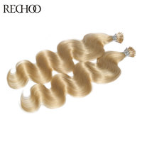 Rechoo 100g/lot 100s Pre Bonded Fusion I tip Hair Extensions 18 24 Remy Keratin Human Body Wave Hair Natural Human Hair
