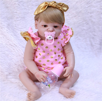 22inch Full Body Silicone Reborn Girl Baby bebe alive free shipping pink suit  Toys best Xmas Birthday Gift bonecas toy  Present