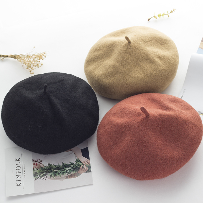 Women Berets Caps Hat Wool Autumn Cotton Solid-Color Sunscreen High-Quality Simple