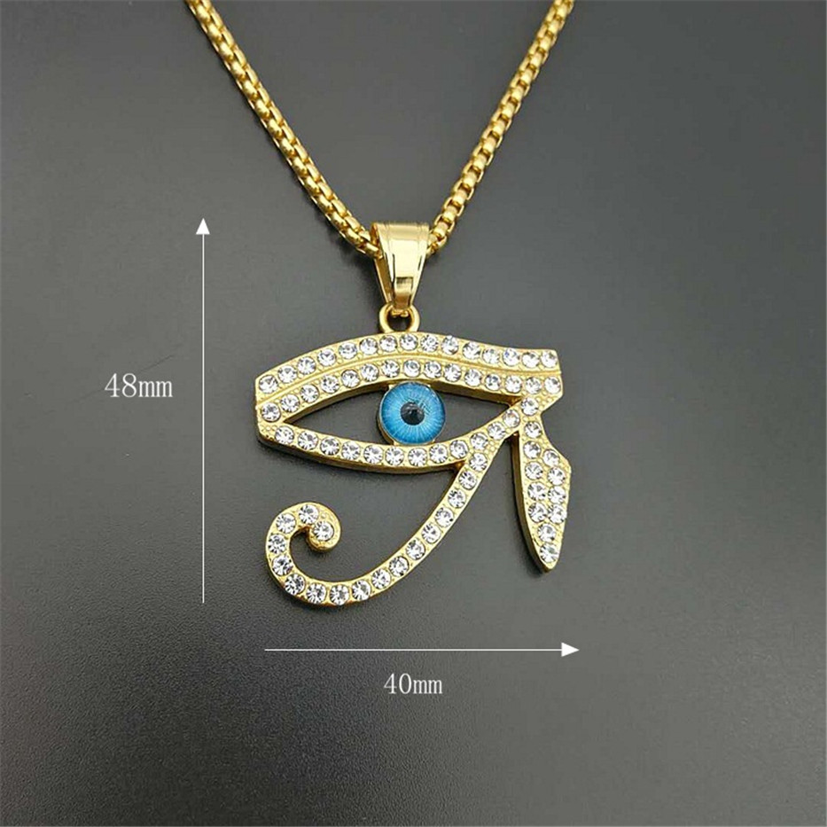 Image 3 - Egyptian The Eye of Horus Pendant Necklace For Women/Men Stainless Steel Evil Eyes Necklace Iced Out Bling Hip Hop Egypt JewelryPendant Necklaces   -