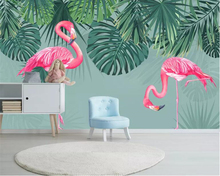 beibehang Custom silk material 3d wallpaper Southeast Asia tropical rain forest flamingo for kids room