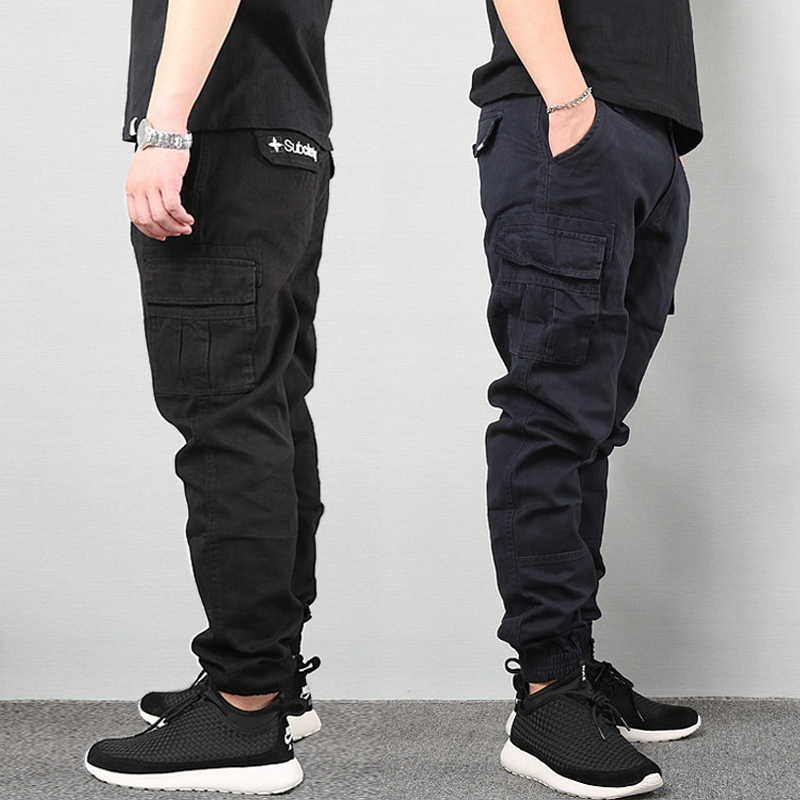 Japanese Style Fashion Men Jeans Hip Hop Jogger Pants Loose Fit Classical Big Pocket Cargo Pants Men Army Green Military Pants